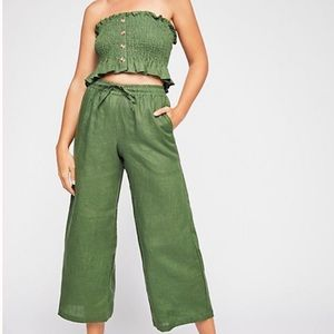 Faithfull the Brand linen green top/pant set